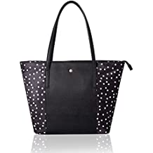 The Lovely Tote Co. Women's Polka Dot PU Nylon Patched Tote Bag Top Handle Purse