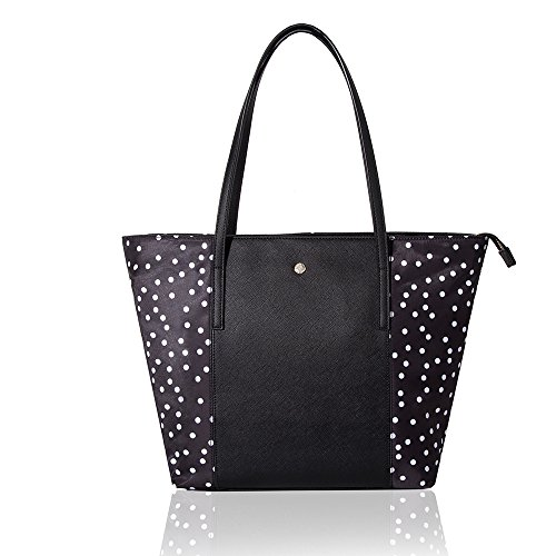 Polka Dot Tote - The Lovely Tote Co. Women's Polka Dot PU Nylon Patched Tote Bag Top Handle Purse, Black