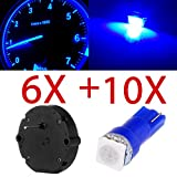 cciyu 6 Pack X27.168 Stepper Motor Kit + 10 Pack T5 Blue LEDS For GMC to Repair Speedometer Tachometer Fuel Temp Oil or Any Other Gauges