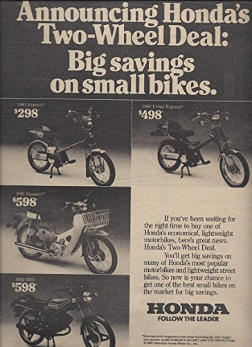 PRINT AD For 1982 Honda Scooters Two Wheel Deal