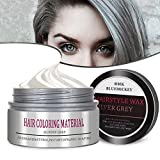 BMK Hair Color Wax Matte Hairstyle Pomades Disposable Temporary Modeling Natural Hair Styling Wax for Party, Cosplay, Nightclub, Masquerad, Halloween etc (Grey)