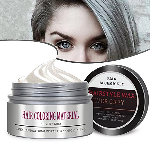 BMK Silver Gray Color Hair Wax Matte Hairstyle Pomades Disposable Temporary Modeling Natural Hair Styling Wax for Party, Cosplay, Nightclub, Masquerad, Halloween (Halloween Save Us)