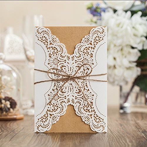 Wishmade 100x Ivory Horizontal Laser Cut Wedding Invitations Cardstock with Hollow Flora Favors Used for Engagement Wedding Bridal Shower CW073 by Wishmade