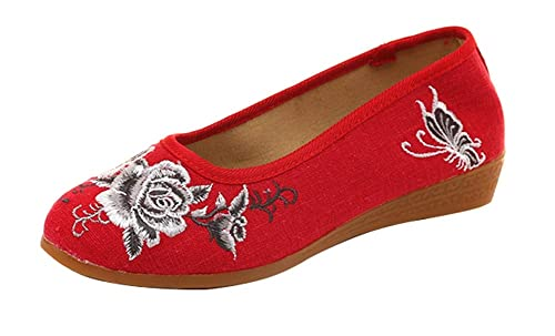 Icegrey Mocasines de Mujer Bordada Zapatos Vintage Bailarina: Amazon.es: Zapatos y complementos