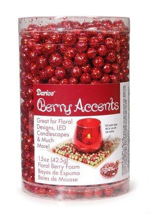 Berry Accents - Floral Berry Foam - Glitter Red - 7 to 9mm - 1.5 oz -