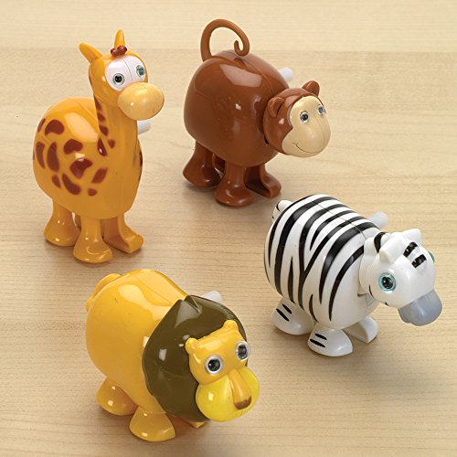 Bits and Pieces - Set of Four (4) Wind Up Running Jungle Animals - Wind-Up Monkey, Lion, Zebra and Giraffe (Running Giraffe)