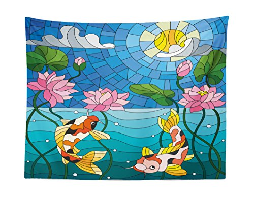 Price comparison product image Lunarable Koi Fish Tapestry,  Stained Glass with Asian Details Mosaic Lotus Flowers Sun Fish Oriental Work,  Fabric Wall Hanging Decor for Bedroom Living Room Dorm,  28 W X 23 L inches,  Blue Multicolor