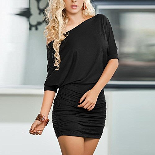 XL Robe Courtes Lngues paule Femme Mini Cold Noir Tops Cocktail Party Robe ~ Manches Robe Sexy t Plage Chemise Moulante Guesspower Chic Robes S fBPwxfq