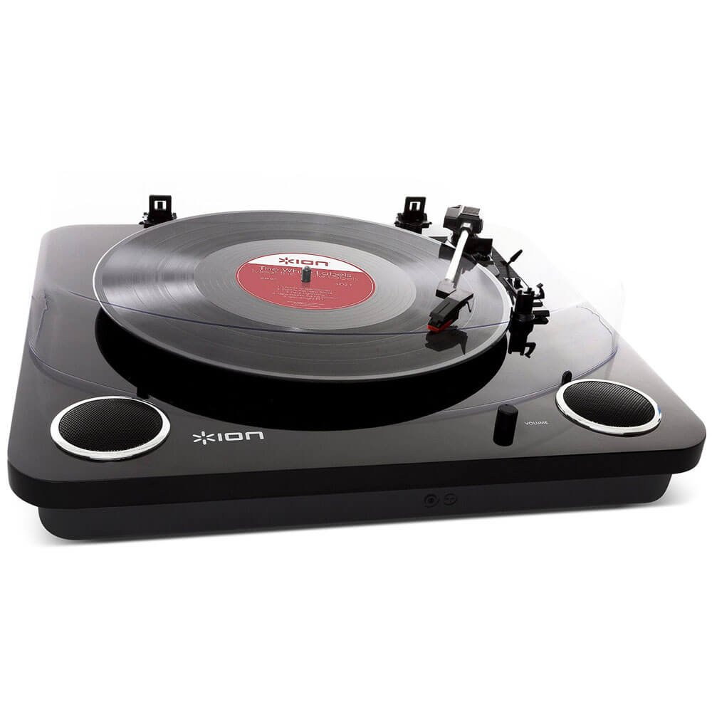 Piano Black Finish USB Output to Convert Vinyl Records to Digital Files and Standard RCA /& Headphone Outputs ION Audio Max LP Three Speed Vinyl Conversion Turntable with Stereo Speakers