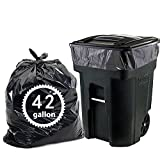 Nicesh 42 Gallon Lawn and Leaf Garbage bags, Black, 66 Counts