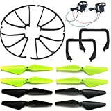 AVAWO UDI U45 U45W U42W U42WH & Cheerwing CW4 Spare Parts Crash Pack Replacement, Main Blade Propellers & Motor & Propeller Protectors Blades Frame & Landing Skid (As Show)