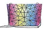 Magibag Women Hologram Geometric Diamond Lattice Plaid Shoulder Bag Handbag Purse Female Tote Bags (Triangle Rainbow)