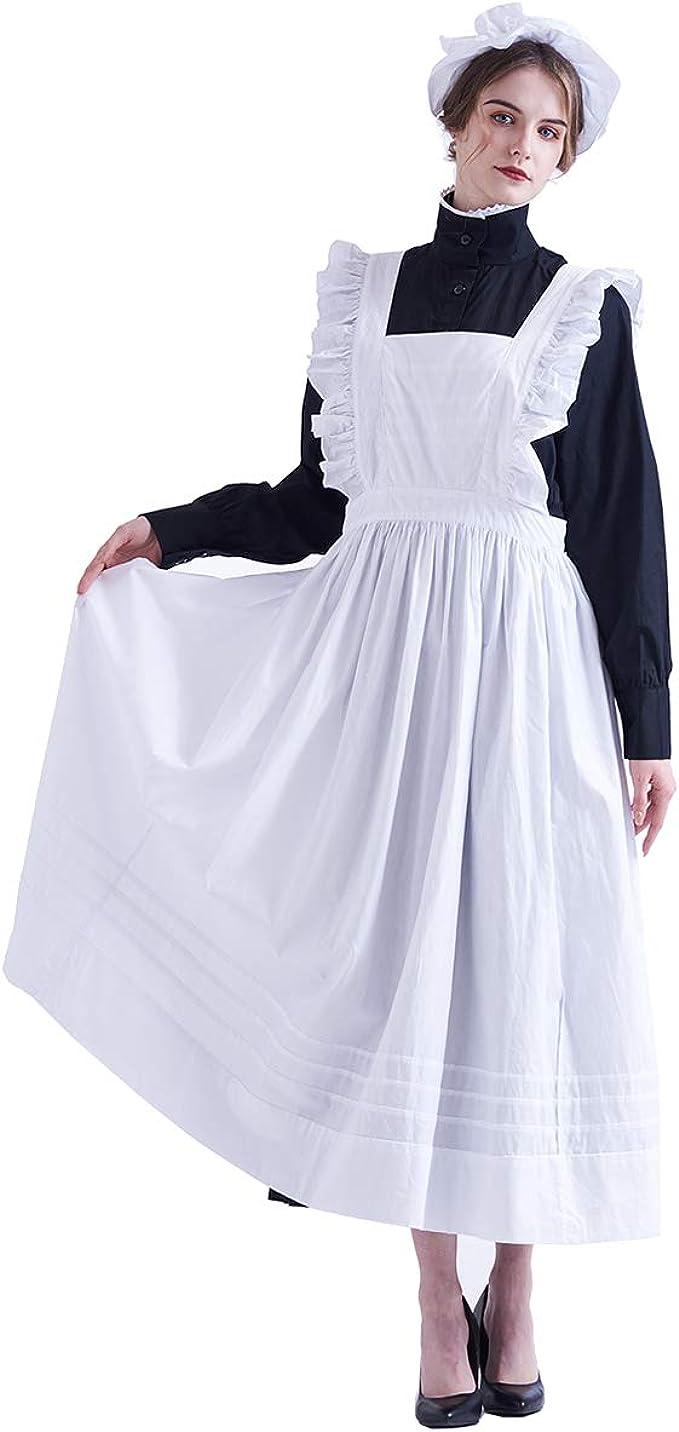 "WAITRESS APRON MOP HAT ADULTS VICTORIAN MAID COSTUME  DRESS 50/"" bust"