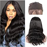 Body Wave 360 Lace Frontal Wig-16 inch Pre Plucked Full Lace Human Hair Wavy Wigs for Black Woman-Peruvin Virgin Remy Human Hair Body Wave Wig with Baby Hair(Natural Color, 150% Density)