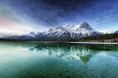 Nature Poster Canvas Art Print - Canada lake transparent water bottom mountains cool freshness