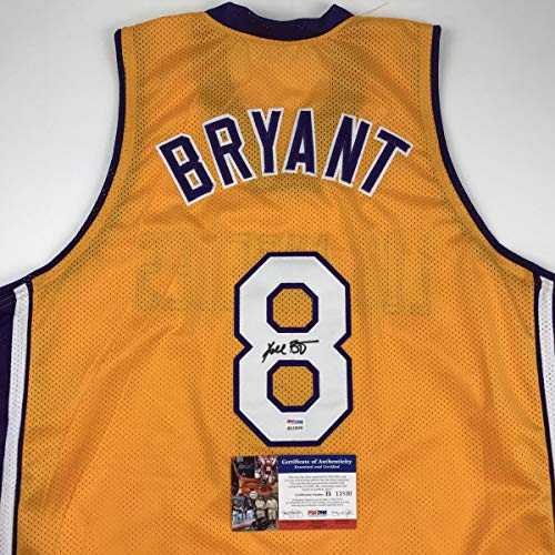 73f3f24e10e Autographed/Signed Kobe Bryant #8 Los Angeles Yellow Basketball Jersey  PSA/DNA COA at Amazon's Sports Collectibles Store