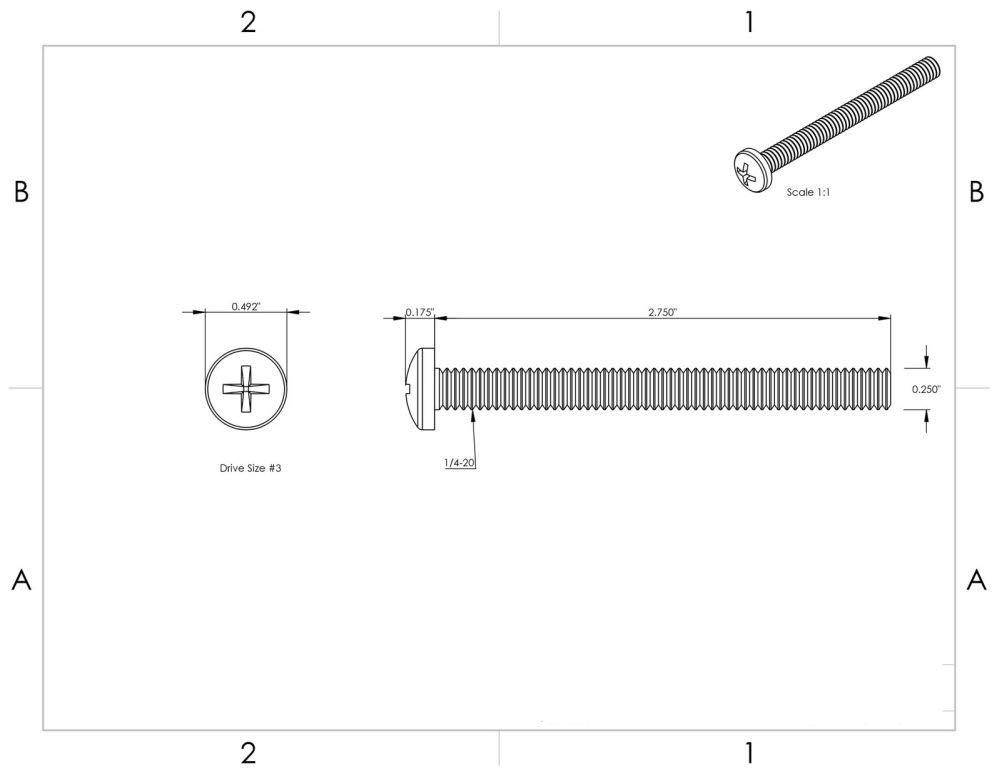 1//4-20 x 2-3//4 Pan Head Machine Screws Stainless Steel 18-8 Qty 250