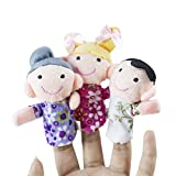 Mini Grandparents, Mom & Dad, Brother & Sister Family Style Finger Puppets for Children, Shows, Playtime, Schools - 6 Piece