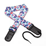 CLOUDMUSIC Ukulele Strap Hawaiian Hibiscus and Palm For Soprano Concert Tenor Baritone