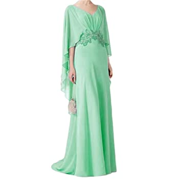 BanZhang Womens V Neck Chiffon Long Evening Formal Dresses with Sleeves Plus Size B255 Aqua 2