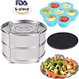 8 qt elite pressure cooker - KINDEN Instant Pot Accessories - Stackable Stainless Steel Food Steamer Insert Pans, Vegetable Steamer Basket, Silicone Egg Bites Molds, Silicone Pot Holder, 5 pcs/set for 5,6,8QT Pressure Cooker