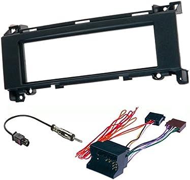 Sound-way Kit Montage Autoradio, Marco 1 DIN Radio de Coche, Adaptador Antena, Cable Adaptador Conector ISO compatible con Mercedes A 2005-2012