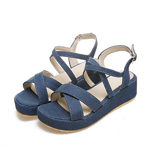 Platform Shoes Flats Darkblue Peep Ladies Metal BalaMasa Fabric Toe Buckles ZSgw4