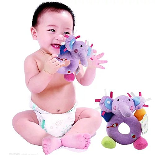 6 pcs Baby Hand Bell Toy Newborn Baby Toddler Wrist Rattle Learning Stuffed Animal Toys Model Catoon Doll Soft Cutie Rattles Kids Lovely Plush Toy Xmas Gift