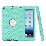 iPad Mini 1/Mini 2/Mini 3 Case,Crystal Rubber Plastic 3 Layer Hybrid Shockproof Case Cover with Stylus and Screen Film Protector Mint Color