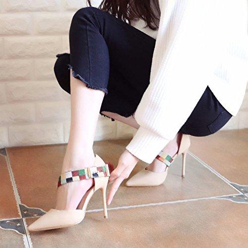 ZHUDJ High Heels Im Frühjahr Schuhe, Dünne Absätze, Dünne, Scharfe, Flach Flach Geschrieben Schuhe Apricot
