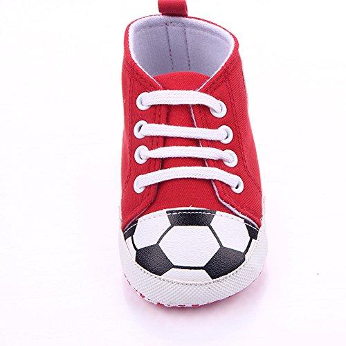 etrack-online Baby Boy Primera Walkers Cute patrón de fútbol deportes zapatillas zapatos rojo rosso Talla:12-18months rosso