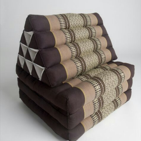 Foldout Triangle Thai Cushion, 67x21x3 inches, Kapok Fabric, Brown Cream, Premium Double Stitched by Thai OTOP by Kaikeng