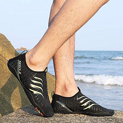 WYSBAOSHU Aqua Herren Rutschfeste Damen 2 Schuhe schwarz Schwimmschuhe AwARvqrx