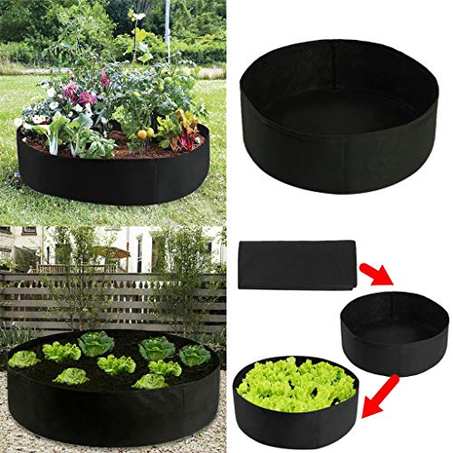 Longay Raised Plant Bed Garden Flower Planter Elevated Vegetable Box Planting Grow Bag (127x30cm, Black)