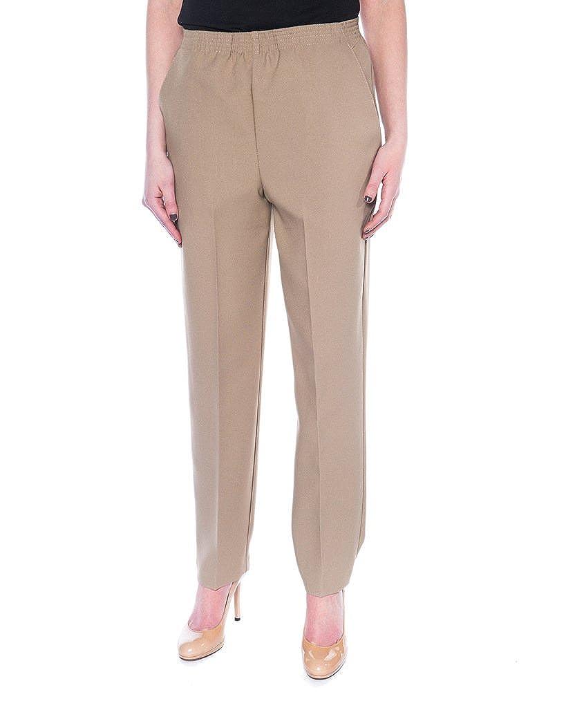24k By Mr. K Women's Everyday Slacks Pull On Elastic Waist For Dressing Ease