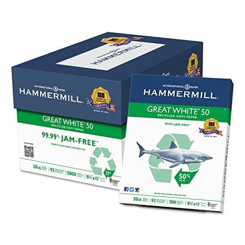 Hammermill Great 50% Recycled Copy Paper, 20lb, 8 1/2 x 11 Inch, 92 Bright, 5000 Sheets/10 Ream Case (086780C)