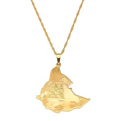Amazon 24k gold plated map of ethiopian lion pendant necklace 24k gold plated map of ethiopian lion pendant necklace africa gold chain necklace map jewelry aloadofball Choice Image