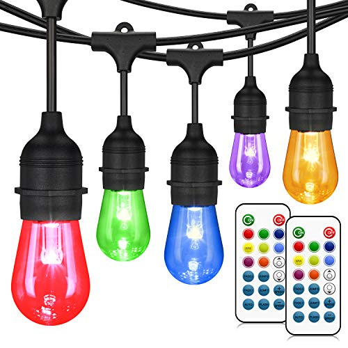 48FT Color Changing Outdoor String Lights, RGB Cafe LED String Lights with 16 S14 Shatterproof Edison Bulbs, Commercial Grade Dimmable String Lights for Patio Backyard Garden, 2 Remote Controllers (String Color)