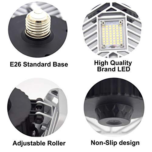 LZHOME 2-Pack LED Garage Lights, 6500Lumens Adjustable ...