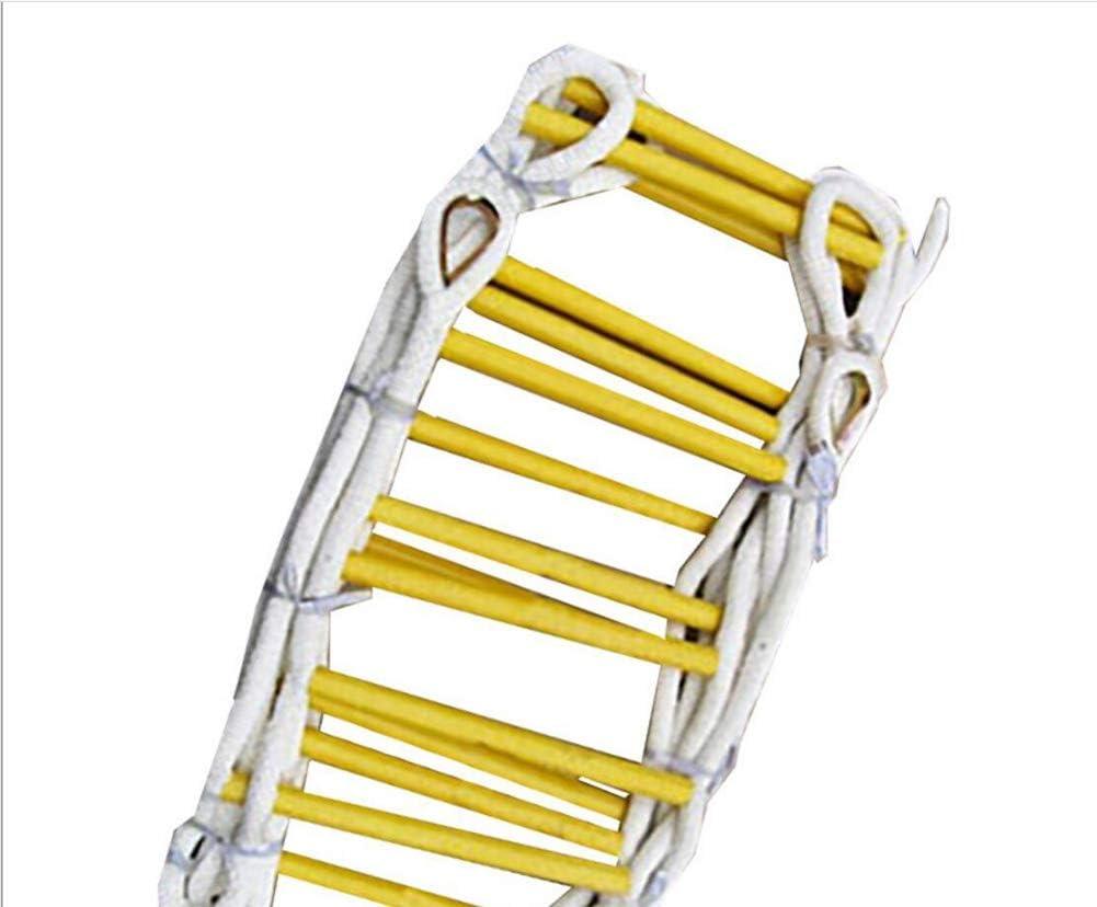 WODETIAN Escalera de Cuerda Escape de Incendios Escaleras de Rescate Plegables al Aire Libre Blanda Trabaja en Altura Madera de Seguridad,15M: Amazon.es: Hogar