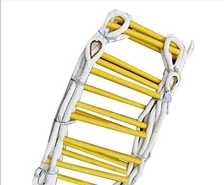 WODETIAN Escalera de Cuerda Escape de Incendios Escaleras de Rescate Plegables al Aire Libre Blanda Trabaja en Altura Madera de Seguridad,5M: Amazon.es: Hogar