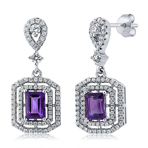 Gem Stone King Sterling Silver Purple Amethyst Gemstone Birthstone Dangle Earrings (6.68 cttw, Center Stone: 7X5MM)