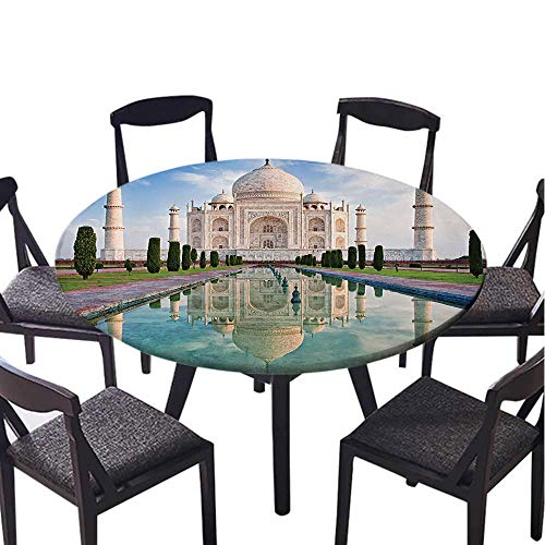 SATVSHOP Picnic Round table-30 Round-for Family Dinner or Gathering,Asian Taj Mahal in Sunrise Light Agra India History Love Story Emperor Landscape Marble Image Ivory Teal.(Elastic Edge) -