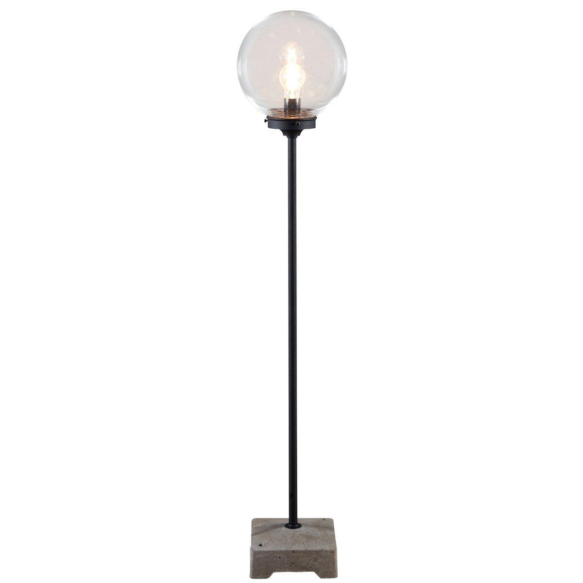 Konstsmide 455-750 Lodi Standing Terrace-Patio Light / 1.29 m High / Clear Glass Globe / Matt Black