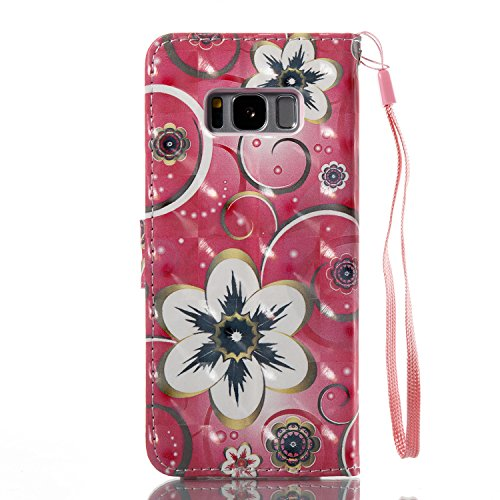 Samsung Galaxy S8 Plus PU Cuero Funda, Vandot 3D Bling Rhinestones Mariposa Shell TPU Inner Bumper Case Funda con Billetera Tapa Holster Cierre Magnético Tarjeta Ranura Carcasa Teléfono Concha Bolsa C DZCH3-4
