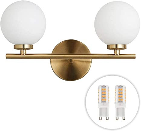 Amazon Com Bokt Mid Century Wall Sconce Golden Wall Lamp With Glass Globe Shade Double Lights Modern Wall Lamp For Bathroom Bedroom Living Room With G9 Bulb 2 Lights Home Improvement