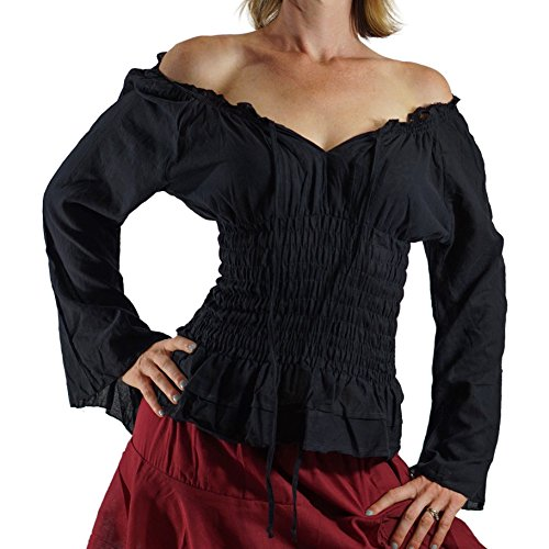'Long Sleeve Peasant Blouse' - Womens Renaissance, Gypsy Costume, Boho - Black