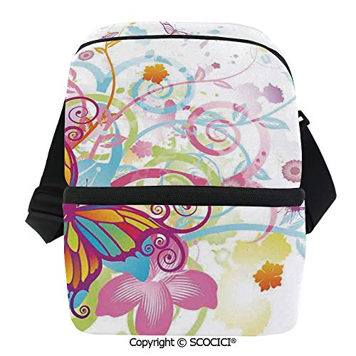 SCOCICI Reusable Insulated Grocery Bags with Floral Elements and Leaves Stylized Curvy Branches Ornament Print Thermal Cooler Waterproof Zipper Closure Keeps Food Hot Or - Hobo Curvy