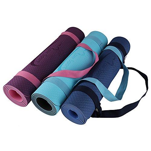 Hot Yoga Mat Set by Low Sport – 100% TPE Yoga Mat, Strap & Carrying Bag + Free Bonus Yoga Hand Towel. Non Slip, Eco-Friendly,Super Elastic,Yoga Mats For Women & Men,Alignment Lines – (Pink) 515E5tBPYeL