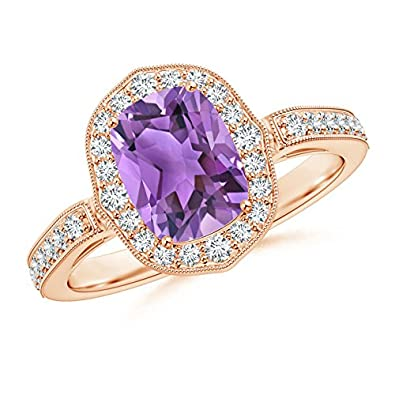 Angara Cushion Amethyst Solitaire Ring in White Gold I3goGQCK